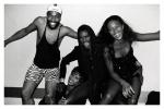 (L-R) Patrick Kelly, Iman, Grace Jones & Naomi Campbell